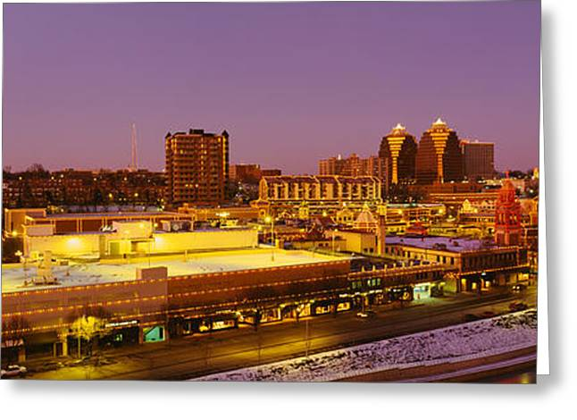 Kansas City Greeting Cards - High Angle View Of Buildings Lit Greeting Card by Panoramic Images