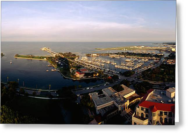 Horizon Over Water Greeting Cards - High Angle View Of Buildings Greeting Card by Panoramic Images