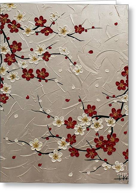 Cherry Blossoms Paintings Greeting Cards - Japanese plum blossoms Greeting Card by Tomoko Koyama