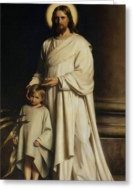Religious Art Paintings Greeting Cards - Jesus And Child Greeting Card by Victor Gladkiy