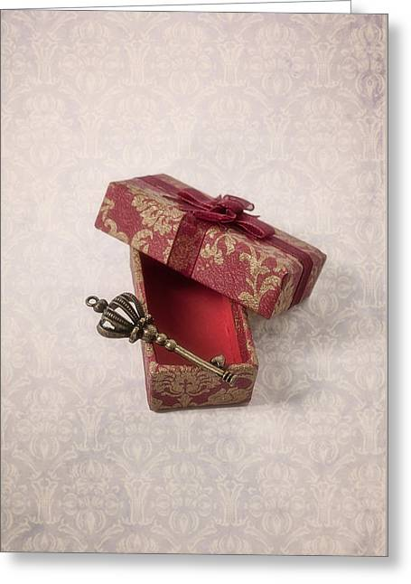 Red Bow Greeting Cards - Key Greeting Card by Joana Kruse