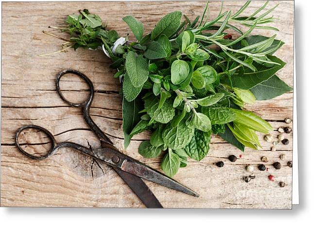 Ingredients Greeting Cards - Kitchen Herbs Greeting Card by Nailia Schwarz