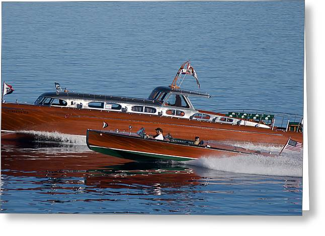 Mahogany Greeting Cards - Lake Tahoe Wooden Boats Greeting Card by Steven Lapkin