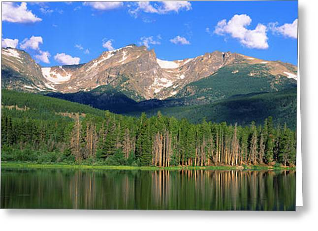 Sprague Greeting Cards - Lake With Mountain Range Greeting Card by Panoramic Images