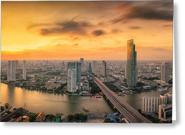 River View Greeting Cards - Landscape of River in Bangkok city Greeting Card by Anek Suwannaphoom