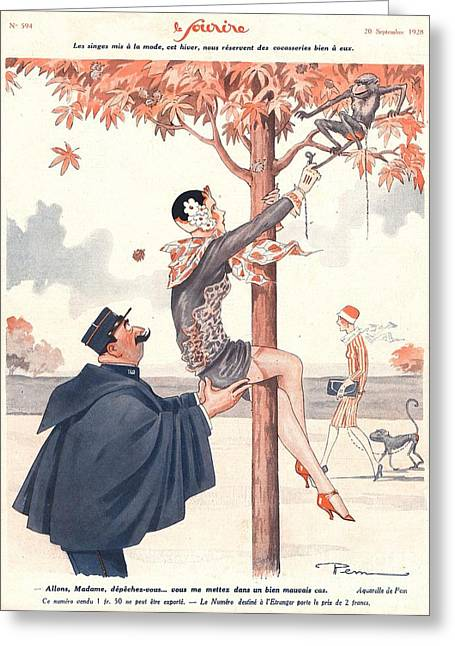 Vintage Greeting Cards - Le Sourire 1920s France Glamour Erotica Greeting Card by The Advertising Archives