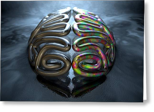 Reality Digital Art Greeting Cards - Left And Right Brain Concept Greeting Card by Allan Swart