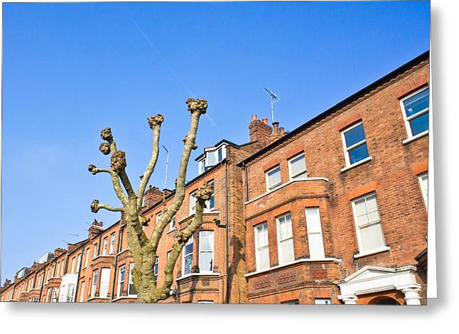 Blue Brick Greeting Cards - London architecture Greeting Card by Tom Gowanlock
