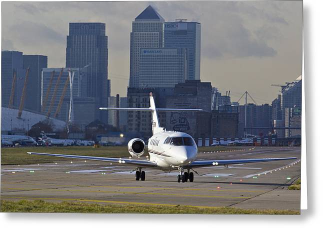 Best Sellers -  - Traffic Control Greeting Cards - London city Airport Greeting Card by David Pyatt