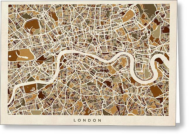 Maps Greeting Cards - London England Street Map Greeting Card by Michael Tompsett