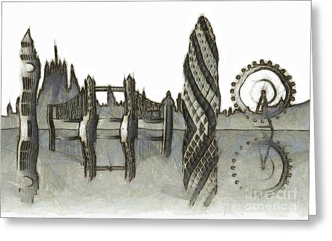 Domes Mixed Media Greeting Cards - London skyline Greeting Card by Michal Boubin