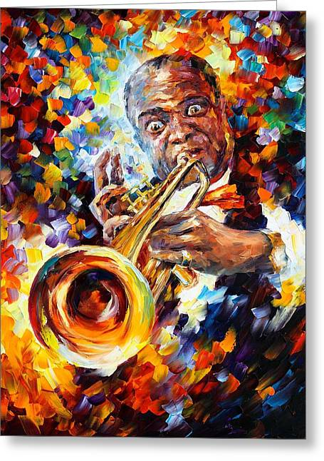 Owner Greeting Cards - Louis Armstrong Greeting Card by Leonid Afremov