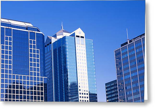 Kansas City Greeting Cards - Low Angle View Of Downtown Skyline Greeting Card by Panoramic Images