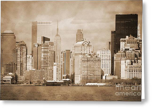 City Skylines Greeting Cards Greeting Cards - Manhattan buildings vintage Greeting Card by RicardMN Photography