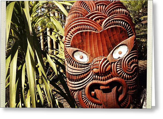 Wooden Sculpture Greeting Cards - Maori carving Greeting Card by Les Cunliffe