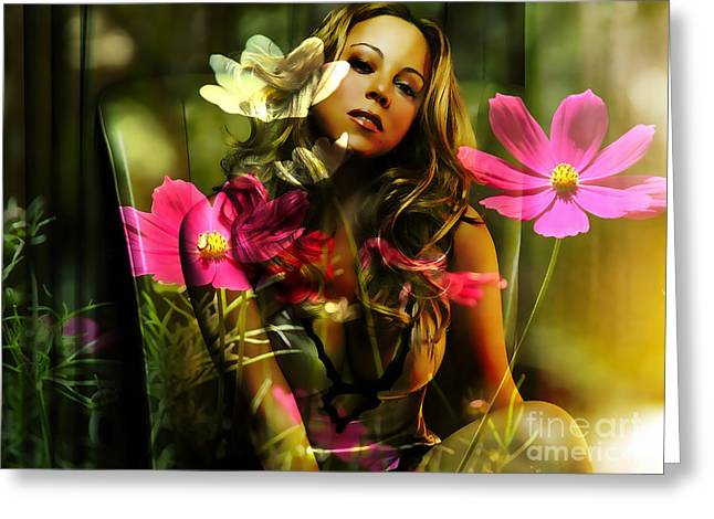 Mariah Carey Greeting Cards - Mariah Carey Greeting Card by Marvin Blaine