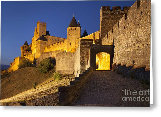 Castle Gates Greeting Cards - Medieval Carcassonne Greeting Card by Brian Jannsen
