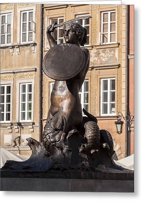 Statue Portrait Greeting Cards - Mermaid statue in Warsaw. Greeting Card by Fernando Barozza