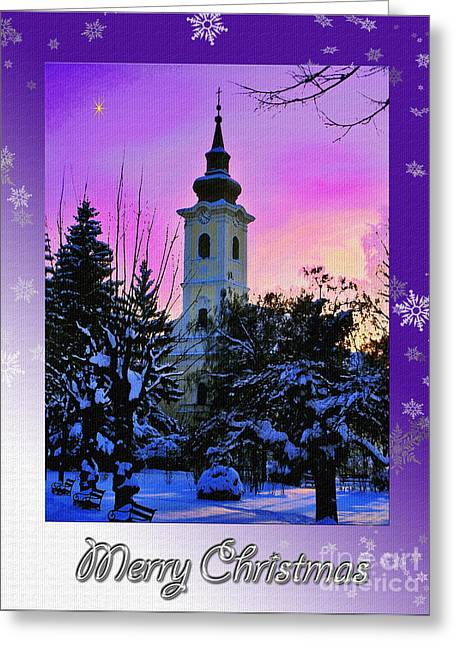 Christmas Eve Greeting Cards - Merry Christmas Greeting Card by Nina Ficur Feenan