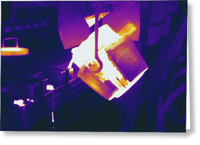 Metal Foundry, Thermogram Greeting Card by Science Stock Photography