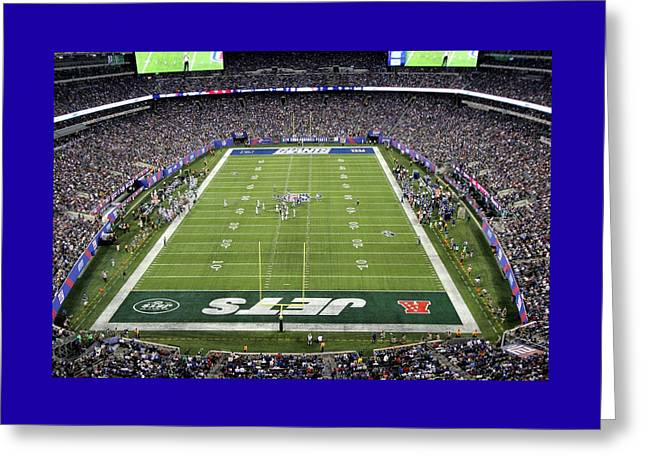 Endzone Greeting Cards - MetLife Stadium 6 Greeting Card by Allen Beatty