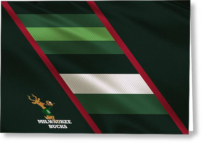 Basket Ball Greeting Cards - Milwaukee Bucks Uniform Greeting Card by Joe Hamilton