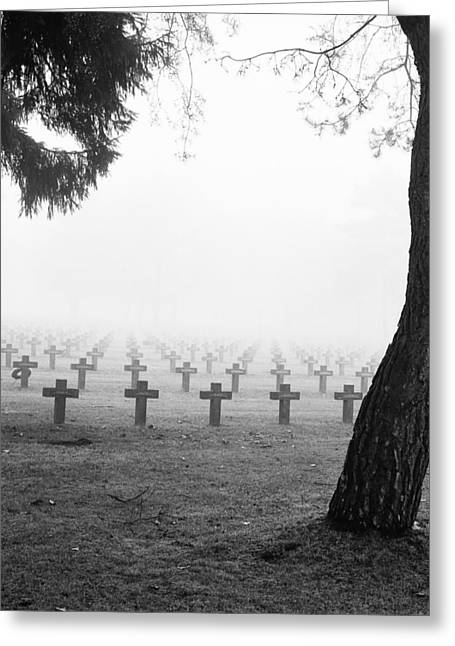 Headstones Greeting Cards - Mist At Cemetery Greeting Card by Dirk Ercken