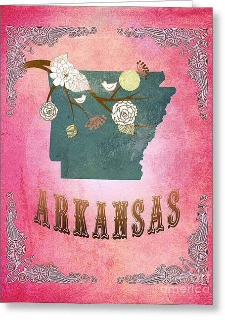 Fushia Greeting Cards - Modern Vintage Arkansas State Map  Greeting Card by Joy House Studio