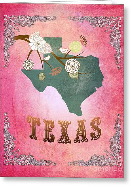 Fushia Greeting Cards - Modern Vintage Texas State Map  Greeting Card by Joy House Studio