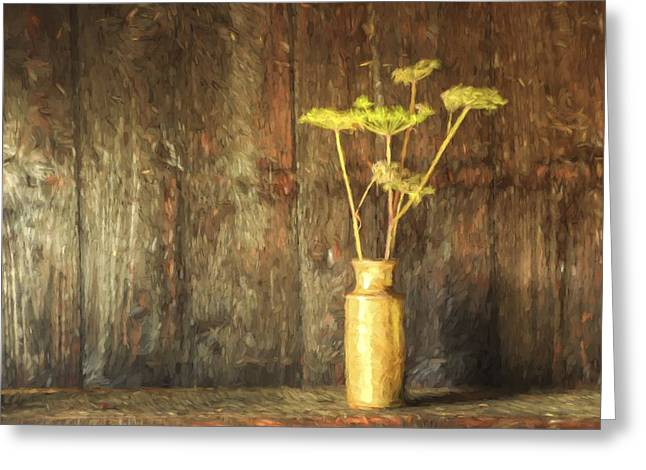 Monet Style Digital Painting Retro Style Still Life Of Dried Flowers In Vase Against Worn Woo Greeting Card by Matthew Gibson