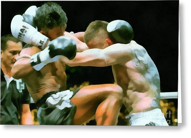 Champ. Boxer Greeting Cards - Muay Thai Arts of Fighting Greeting Card by Rames Ratyantarakor