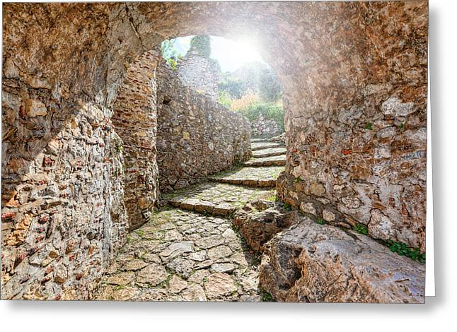 Medieval Temple Greeting Cards - Mystras - Greece Greeting Card by Constantinos Iliopoulos