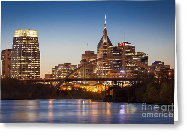 Cumberland River Greeting Cards - Nashville Skyline Greeting Card by Brian Jannsen