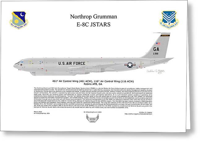 Arthur Eggers Greeting Cards - Northrop Grumman E-8C JSTARS Greeting Card by Arthur Eggers