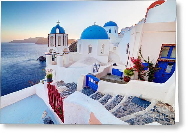 Oia Town On Santorini Greece Greeting Card by Michal Bednarek