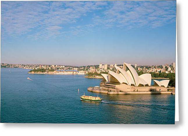 Sailboat Images Greeting Cards - Opera House At The Waterfront, Sydney Greeting Card by Panoramic Images