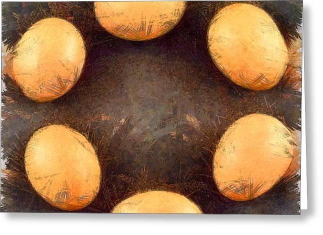 Organic eggs Greeting Card by George Atsametakis