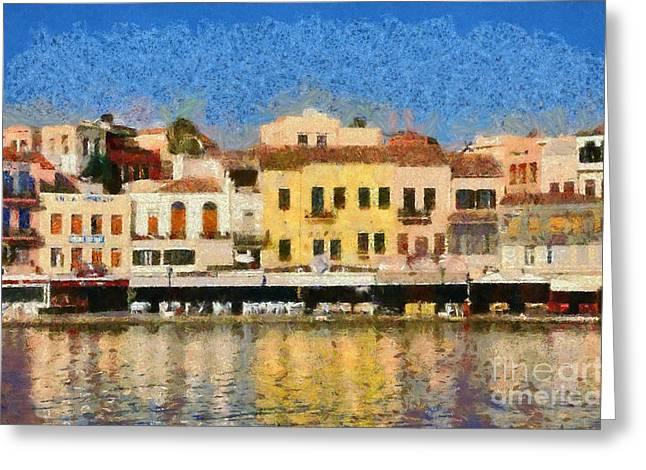 Greece Greeting Cards - Painting of the old port of Chania Greeting Card by George Atsametakis