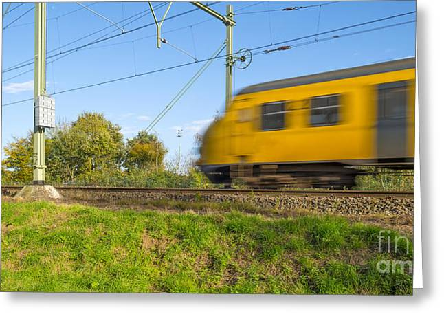 Limburg Greeting Cards - Passenger train moving at high speed Greeting Card by Jan Marijs