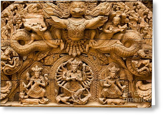 Wooden Sculpture Greeting Cards - Patan Durbar Square Greeting Card by Kevin Miller