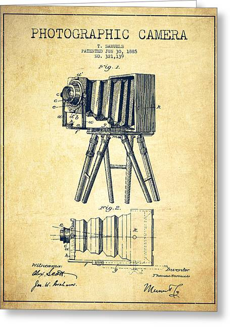 Famous Photographer Greeting Cards - Photographic Camera Patent Drawing from 1885 Greeting Card by Aged Pixel
