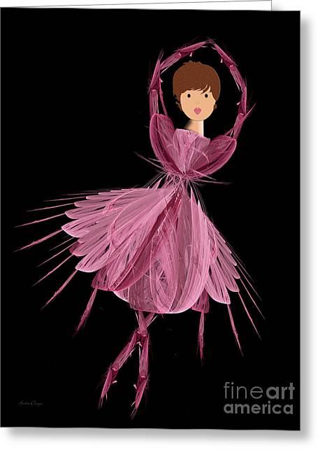 Pink Tutu Skirt Greeting Cards - 6 Pink Ballerina Greeting Card by Andee Design
