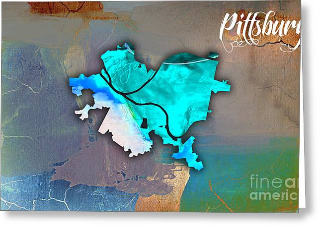 Pittsburgh Map Watercolor Greeting Card by Marvin Blaine