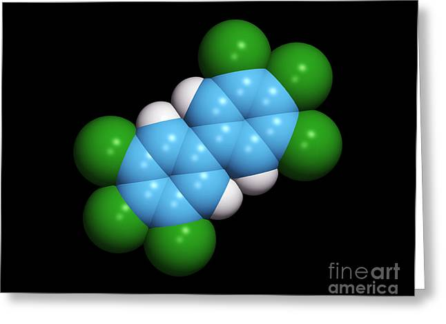 Organic Compound Greeting Cards - Polychlorinated Biphenyl Molecule Greeting Card by Dr. Tim Evans