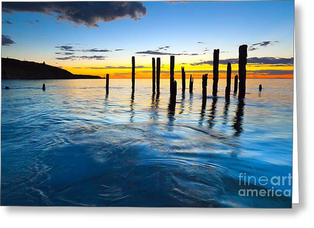 Old Port Greeting Cards - Port Willunga Sunset Greeting Card by Bill  Robinson