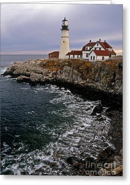 Lighthouse Photography Greeting Cards - Portland Head Lighthouse Greeting Card by Skip Willits
