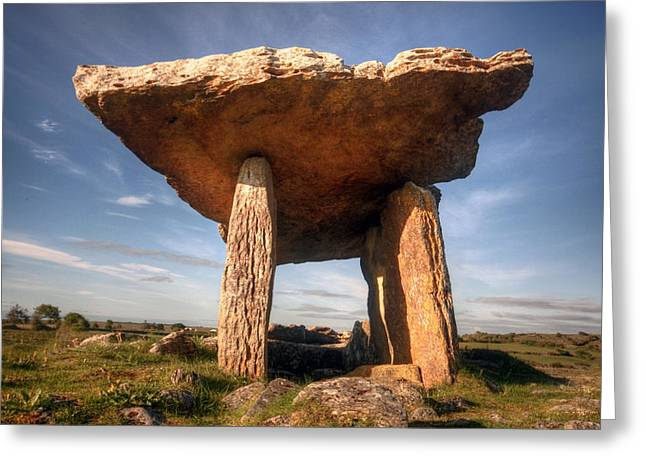 Ancient Tomb Greeting Cards - Poulnabrone Dolmen Greeting Card by John Quinn