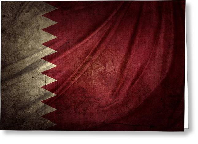 Grunge Photographs Greeting Cards - Qatar flag Greeting Card by Les Cunliffe