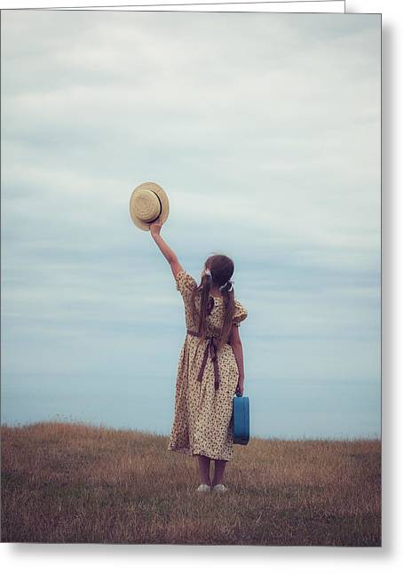 Sun Hat Greeting Cards - Refugee Girl Greeting Card by Joana Kruse
