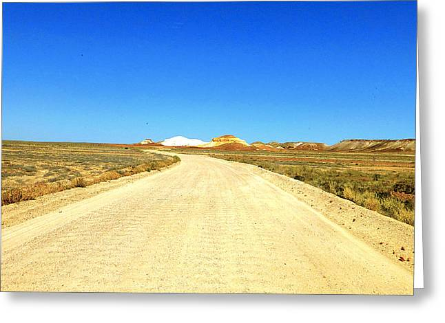 Road Travel Pyrography Greeting Cards - Desert road Greeting Card by Girish J